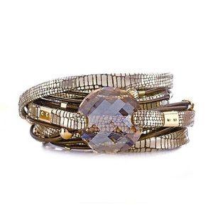 sara designs Jewelry - GOLD FLAKE SWAROVSKI CRYSTAL WRAP BRACELET